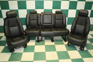 12 13 Avalanche Black Leather Heated Power Front Buckets Backseat Seat Set Oem