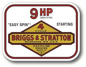 Vintage Briggs Stratton Easy Spin 9 Hp Small Engine 4 X 3 Sticker Decal