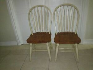 Antique Windsor Solid Wood Loop Back Handmade Side Chair Original Ivory Set 2