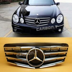 4 Fin Shiny Black Front Grille Fit Mercedes Benz E Class W211 2007 2009