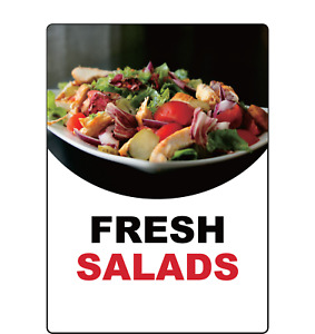 Fresh Salads Restaurant Fast Food Storefront Window Adhesive Vinyl Sign Decal