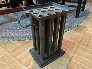 18th To Early 19th Century Twelve Tube Tin Candle Mold In Unusual Squared Form