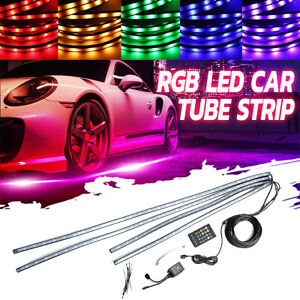 4pcs 8 Colors Led Strip Under Car Tube Underglow Underbody System Neon Light Kit