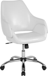 Madrid Home And Office Upholstered Mid back Chair In White Leathersoft