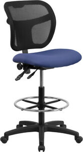 Contemporary Mid back Navy Blue Mesh Drafting Chair With Back Height Adjustment