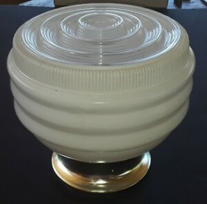 1950 S Mid Century Modern Diner Ribbed Ceiling Light Fixture Lamp Furniture Rare
