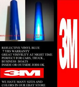 24 X Feet Blue 3m Reflective Roll Vinyl Adhesive Cutter Sign 7 Years