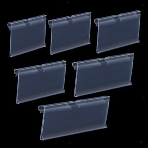 50 pack Transparent Plastic Merchandise Shelf Price Tag Label Display Holder