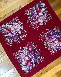 Antique Vintage Fruit Print On Turkey Red Cotton C 1900 Sewing Pillow Fabric