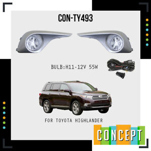 For 2011 2013 Toyota Highlander Fog Lights Lamps With Assembly Set L R Side