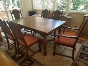 Antique English Jacobian Dining Room Set 6 Chairs Table Buffet