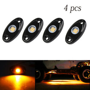 4 Pods Led Rock Lights Waterproof Led Neon Underglow Light For Car Truck Amber