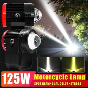 125w Mini Projector Led Motorcycle Headlight Spotlight Work Fog Light Whiteamber