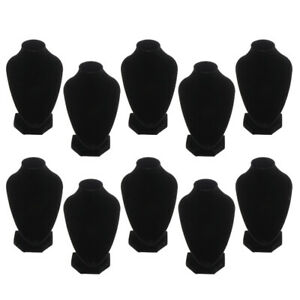 10x Black Velvet Jewelry Bust Display Stands Rack Organizer 5 91x3 94