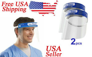 Face Shield 2 Pack Clear Safety Full Protection Work Industry Dental Anti fog