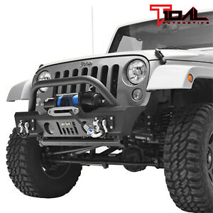 Tidal Stubby Front Bumper With Fog Light Housing Fit For 07 18 Jeep Wrangler Jk