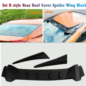 Set R Style Rear Roof Cover Spoiler Wing Black Fit For Honda Civic 2016 18 10th