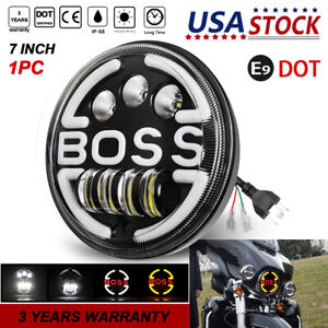 Round 7 Inch Led Headlight Projector Halo Ring Drl Hi low Motorcycle Headlamp