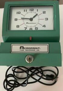Acroprint Automatic Electric Time Clock 150nr4 Heavy Duty With Key