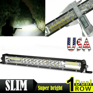 13inch 120w Slim Led Light Bar Dual Row Spot Flood Combo Work Offroad Suv Atv Us