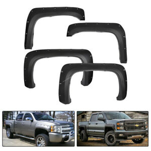 4pcs Fender Flares Pocket Rivet Style Fit For Chevy 07 13 Silverado 1500 2500hd