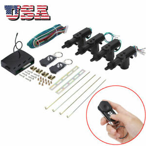 Universal Car Central Power Door Lock Unlock Remote Kit 2 Keyless Entry 4 Door