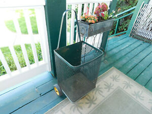 Vintage Antique Green Metal Shopping Grocery Market Laundry Cart Rolling Basket