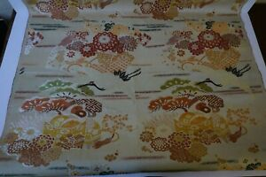 Antique Vintage Bolt Chinese Silk Woven Brocade Fabric Cranes 2 Yards Plus