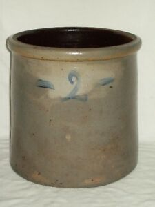 Antique 2 Bee Sting Stoneware Crock Salt Glazed Pottery Red Wing