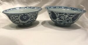 Two Chinese Porcelain Bowls Blue And White Floral Ming