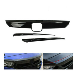 Glossy Black Front Grille Cover Moulding Trim Lip Fit For Honda Accord 2018 2019