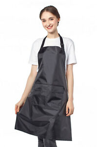 Uk Black Wipeable Pvc Waterproof Apron With Adjustable Neck Strap And Pockets
