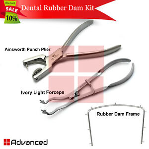 Dentist Rubber Dam Instruments Ainsworth Punch Plier Ivory Light Forceps Frame