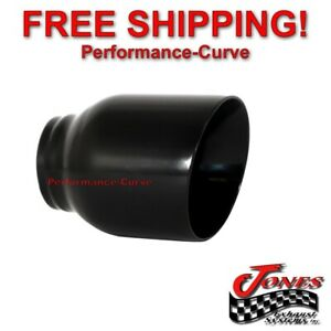 Stainless Exhaust Tip Double Wall Angle Black 2 5 Inlet 4 Outlet 5 Long