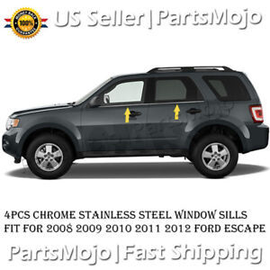 For 2008 2009 2010 2011 2012 Ford Escape Chrome Stainless Steel Window Sills