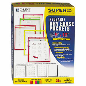 Reusable Dry Erase Pockets 9 X 12 Assorted Neon Colors 25 box