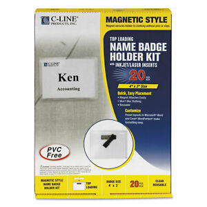 Magnetic Name Badge Holder Kit Horizontal 4w X 3h Clear 20 box