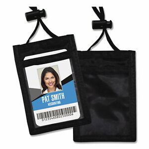 Id Badge Holder W convention Neck Pouch Vertical 2 3 4 X 3 1 2 Black 12 pack