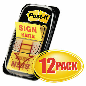 Arrow Message 1 Page Flags Sign Here Yellow 50 dispenser 12 Dispensers pk