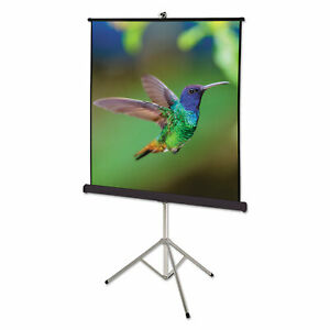 Portable Tripod Projection Screen 60 X 60 White Matte Black Steel Case