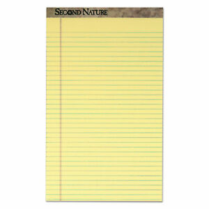 Second Nature Recycled Pads Wide legal Rule 8 5 X 14 Canary 50 Sheets Dozen