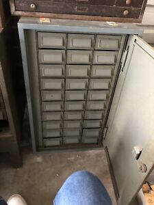 Vintage 30 Drawer Parts Storage Cabinet Gray 32 Tall 20 Wide 24 Deep