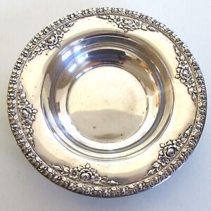 Wallace Sterling Silver Small Bowl Floral Roses On Rim Normandie