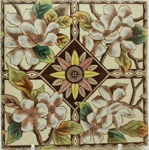 Superb Aesthetic Movement Print Tint Tile Apple Blossom C1885