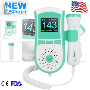 Us Fetal Doppler Heart Rate Lcd Color Display Pocket Prenatal Monitor 3mhz Probe