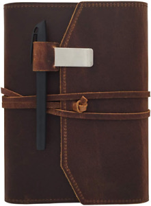Refillable Leather Journal Writing Notebook Lay Flat Blank Notepad 100 Sheets