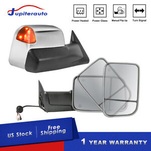 2pcs Chrome Power Heated Tow Mirrors W Signal For 98 02 Dodge Ram 1500 2500 3500