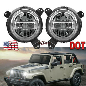 Chrome 7 Round Led Headlights Bracket Ring Kit For Jeep Wrangler Jl 2018 2020