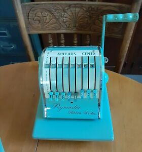 Vintage Paymaster Ribbon Writer 8000 Series Mint Green Check Ink Cover U s a