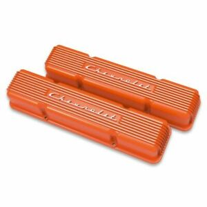 Holley 241 109 Gm Licensed Vintage Series Bb Chevy Valve Covers Orange New